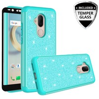 Revvl 2 Plus Case, Alcatel 7 Case, Glitter Bling Heavy Duty Shock Proof Hybrid Case with [HD Screen Protector] Dual Layer Protective Phone Case Cover for Alcatel Revvl 2 Plus W/Temper Glass - Teal