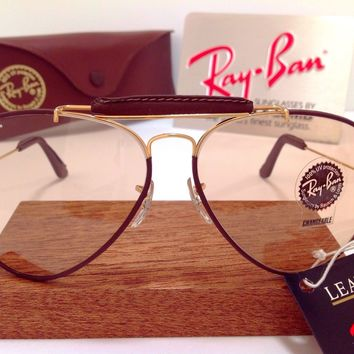 NOS B&L RAY BAN USA LEATHERS BROWN CHANGEABLES OUTDOORSMAN AVIATOR 62mm VTG CASE
