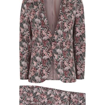 Pink Floral Print Ultra Skinny Fit Suit - Shop All Suits - Suits