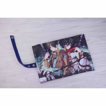 Cool Attack on Titan New Arrival: Anime  Eren Jaeger & MikasaAckerman Canvas Stationery Pouch Pencil Bag Roll Pencil Case AT_90_11