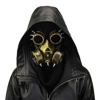 Retro Bronze Metallics Rivet Resin Steampunk Gas Mask and Goggles Gothic Punk Women /Men Halloween Cosplay Costume Accessories