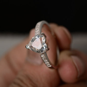 Natural White Topaz Ring Heart Cut Ring Engagement Ring Promise Ring Sterling Silver