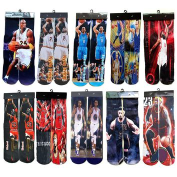 Basket Ball Star 3D Printed Socks Michel JD Curry KB James Wade Odd Future Socks Men Cool Skateboard Novelty Sox