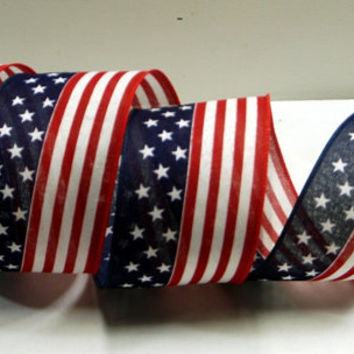 "2.5"" American Flag Wired Ribbon ~ Patriotic Ribbon ~ 4th of July Ribbon ~ Craft Ribbon ~ 3 Yards"