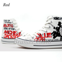 Michael Jackson Hand Painting Shoes High Top Canvas Sneakers