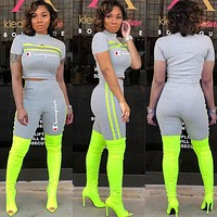 Champion Newest Fashion Woman Casual Short Sleeve Top Shorts Set Two Piece