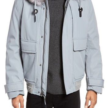Imperial Genuine For Fur Trim and Shearling Lined Bomber Jacket