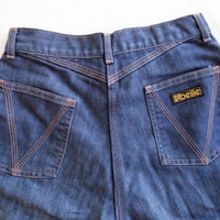 L'abeille jeans/ vintage high waisted jeans/ 70s high waisted blue jeans/ womans size XS-S waist 25 inches
