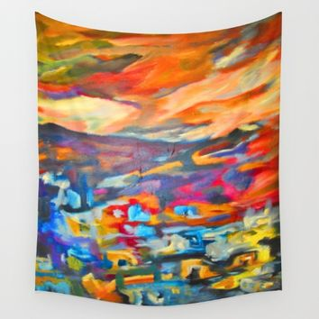 My Village | Colorful Small Mountainy Village Wall Tapestry by Azima