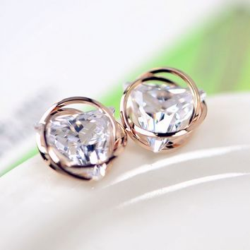 Triangle Wrapped in Circles Rhinestone Earrings