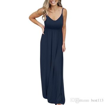 New Sexy Dress Women Fashion summer dress Sleeveless Solid Color Maxi dress Causal Holiday Beach Party