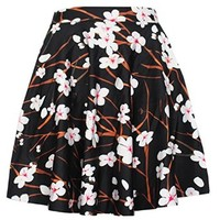 Women's Plum Blossom Digital Print Slim Stretch Elastic Pleated Skirt