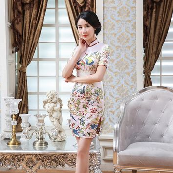 High Fashion Pink Mandarin Collar Short Satin Cheongsam Chinese Traditional Print Qipao Elegant Flower Dress S-XXL LGD114