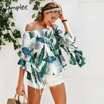 Simplee Off shoulder tropical print sexy blouse women Flare sleeve ruffle casual blouse shirt Smock top summer beach tunic