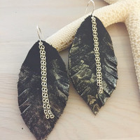 Large Leaf Earrings - Black Leather - Statement Earrings - Genuine Leather - Boho Earrings - Leather Feather Earrings - Gold Metallic Dipped