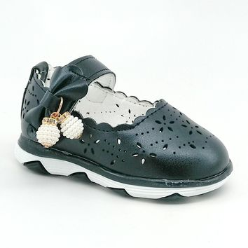 Baby Black LED Shoe with Scalloped Edge and Bead Detail
