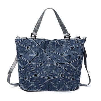 Women Handbag Geometric Denim BaoBao Handbag Women Bag Lingge Bao Bao Tote Fashion Shoulder Bag Bucket Bag