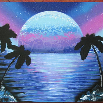pink blue beach painting,spray paint art,ocean painting,beach decor,beach wall art,palm trees,ocean poster,ocean decor,gift for her,birthday