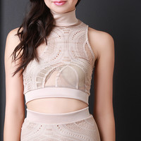 Oval Mesh Lace Pattern Crop Top