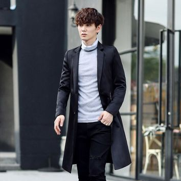 Autumn Winter Men's Fashion Casual Single Breasted Men's Long Blazers Trench Coat Jacket Pea Coat Overcoat British Style