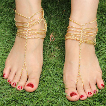 Gold Chain Layer Toe Ring Barefoot Sandals