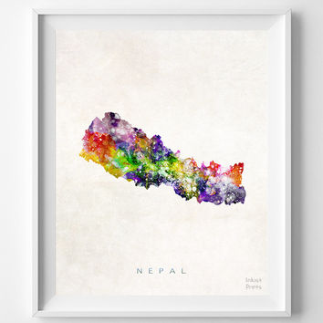 Nepal map asia print kathmandu from inkist prints for Home decor nepal