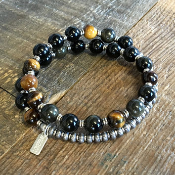 Strength and Prosperity, Golden Obsidian and Tigers Eye 27 Bead Wrist Mala Bracelet