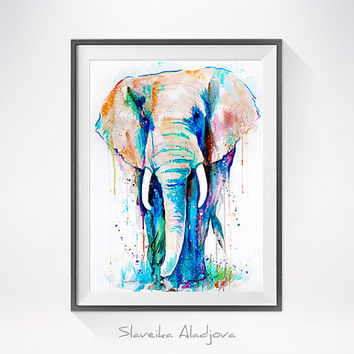 African Elephant watercolor painting print, animal watercolor, animal painting, animal art, animal portrait, African Elephant painting