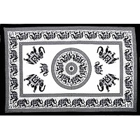 Handmade 100% Cotton Mandala Elephant Tapestry Tablecloth Coverlet Bedspread Beach Sheet Dorm Decor 60x90 White Black