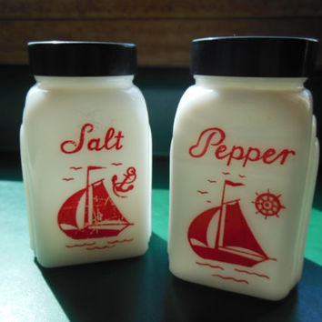 Ships Salt & Pepper Shakers, Milk Glass with Black Lids, Treasury Item