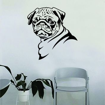 Pug v2 Dog Decal Sticker Wall Vinyl Art Home Living Room Bedroom Decor Teen Doggy Puppy Vet Adopt Shelter