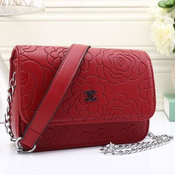 DCCKL7H CHANEL Women Shopping Leather Flower Crossbody Shoulder Bag Satchel