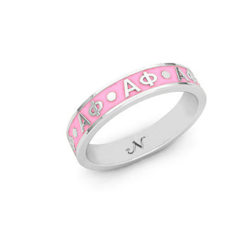Alpha Phi Silver Enameled Signature Letter Ring/ Can create with any Sorority