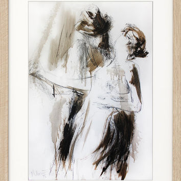 Dancers, Giclee print of original charcoal and acrylic drawing, Sketch Passion Woman Man Couple Graphic art Wall art Modern artwork Fine art