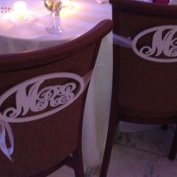 Mr. and Mrs. Oval Wooden Chair Signs