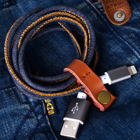 Durable Denim Leather Lightning Cable for iPhone se 5s 6s 6 plus Android + Gift Box 19