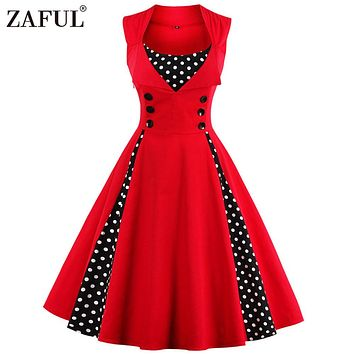 ZAFUL Vintage Retro Women Dress Sleeveless Polka Dot 2017 Summer Party Evening Vestido Elegant Ladies Red A Line Plus Size 4XL