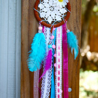Blue Blue & Pink Boho Dreamcatcher by DreamsByAndrea