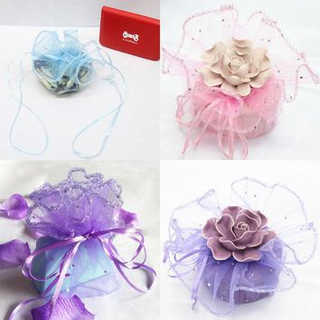 50pcs sequins dot Sheer Organza Wedding Party Favor Gift Jewelry Beads Candy Pouch Bag Wedding Gift Packing Bags Packaging.q
