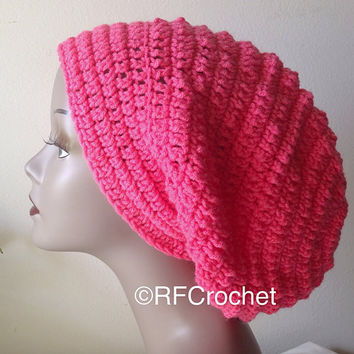 Bright Pink Slouchy Beanie | Ready to Ship | Coral | Women's Beanie | SOFT | Teen | FREE Shipping in USA | Bad Hair Day |