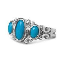 Sterling Silver Sleeping Beauty Turquoise Three-Stone Polished Ring
