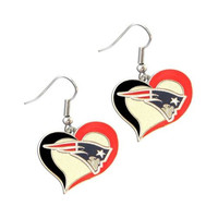 New England Swirl Heart Dangle Logo Earrings