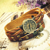 Wrist Watch Handmade Wristwatches Vintage Ladies Girls Womens Mens Leather Bangle Studded Bracelet Quartz Cute Cat Pendant (WAT0012)