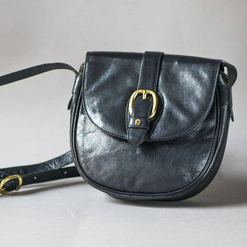 Black Genuine Leather Cross Body Bag. Vintage Women's Bag Etienne Aigner. Small Shoulder Bag. Saddle Bag for lady. Equestrian Bag Soft Gift