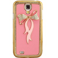 WwWSuppliers 3D Bling Rhinestones Bow Case for Samsung Galaxy S4 Gold Frame Protective Fancy Elegant Stylish Fashion Cover + Free Screen Protector (Pink Leather / Pink Bow)