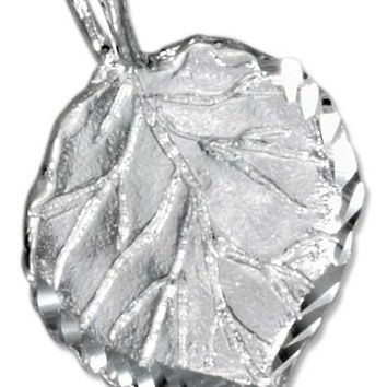 Sterling Silver Aspen Leaf Pendant With Diamond Cut Edges