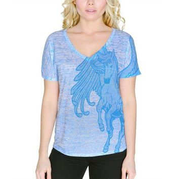 LMFCY8 Pegasus Mythical Winged Horse Women's Slouchy V-Neck T Shirt