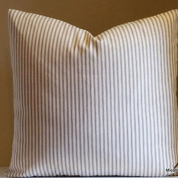 Pillow, Decorative Throw Pillow, French Ticking Stripe Pillow Ivory and Grey