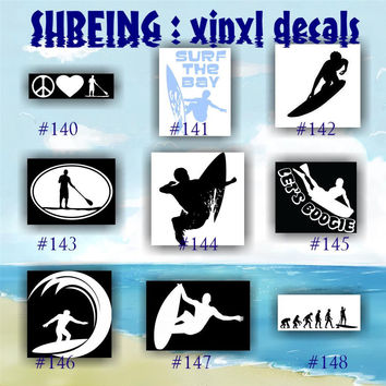 SURFING vinyl decals - 140-148 - surfer stickers - surfer girl - surf - surfboard - car decal - sticker - custom vinyl decals