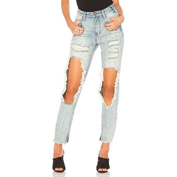 One Teaspoon High Waisted Freebird Jeans in Blue Hart